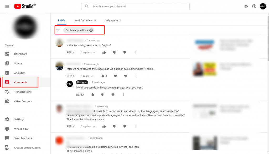 Channel comments youtube