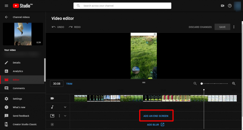endscreen youtube edit